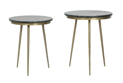 Function Green Marble Accent Tables - Set of 2
