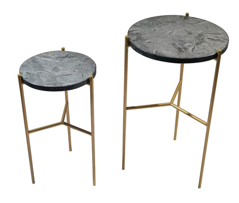 Earth Wind & Fire Valencia Marble Side Tables - Set of 2