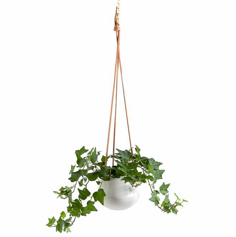 Ashbury Leather Hanging White Drop Pot Planter - Small