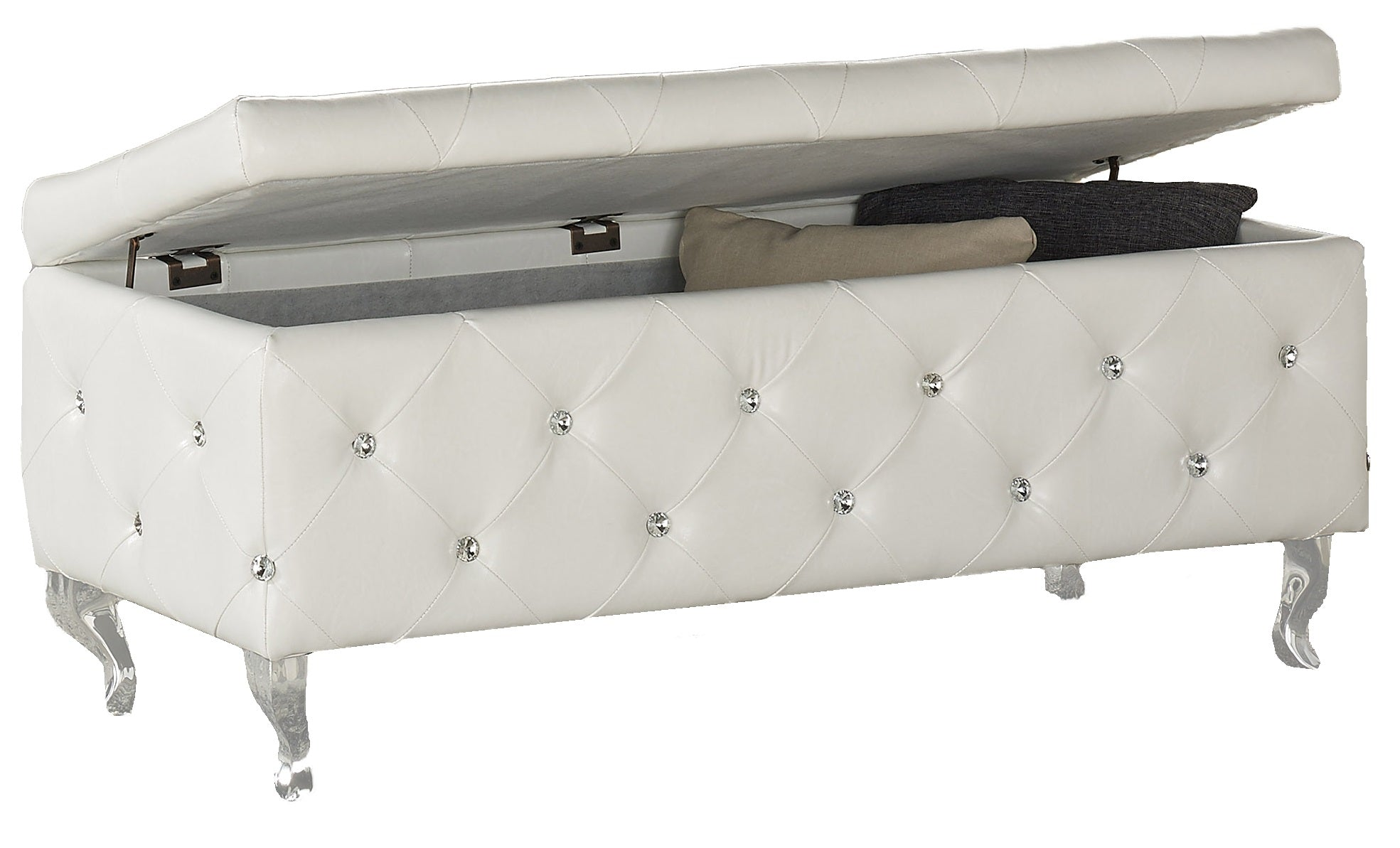 Monique Rectangular Storage Ottoman - White