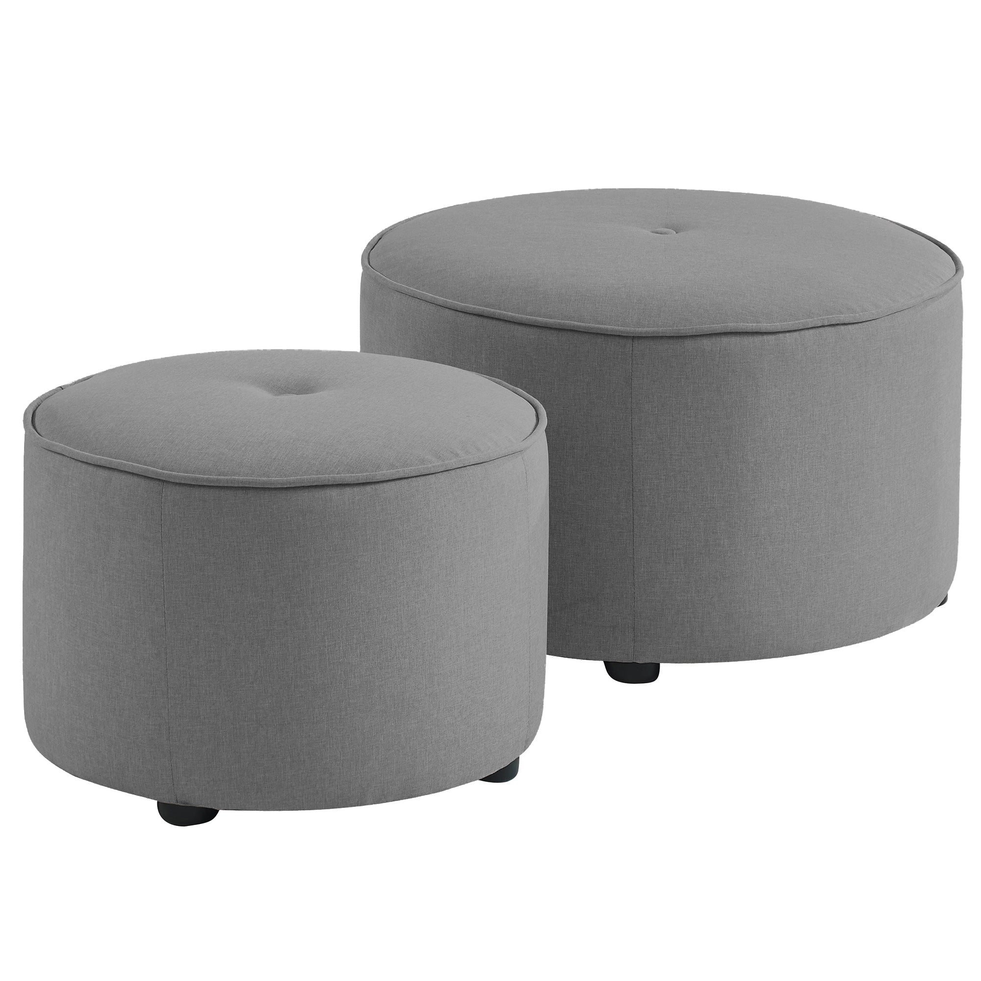 Etro Light Grey Round Ottoman - Set of 2