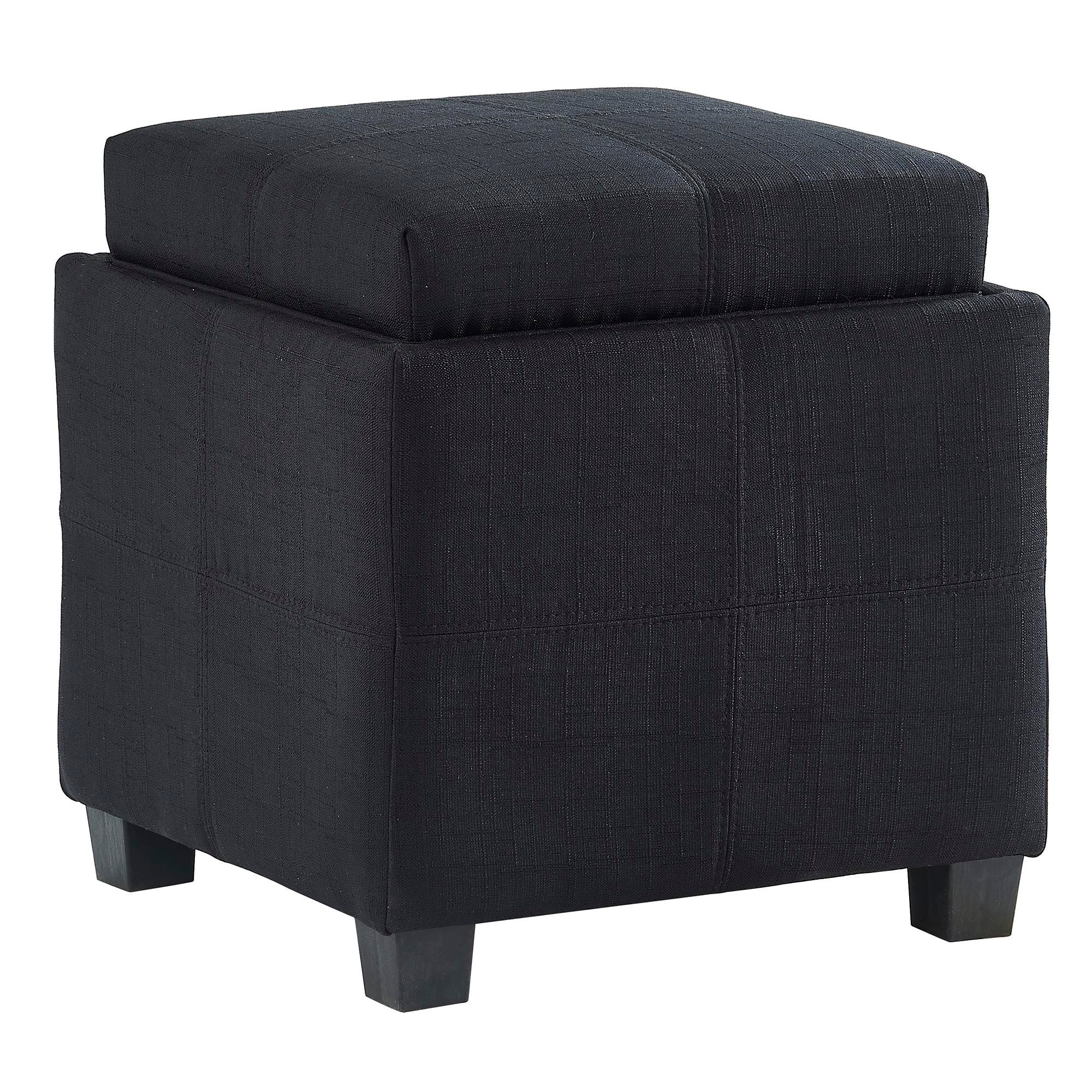 Luxy Square Storage Ottoman - Black