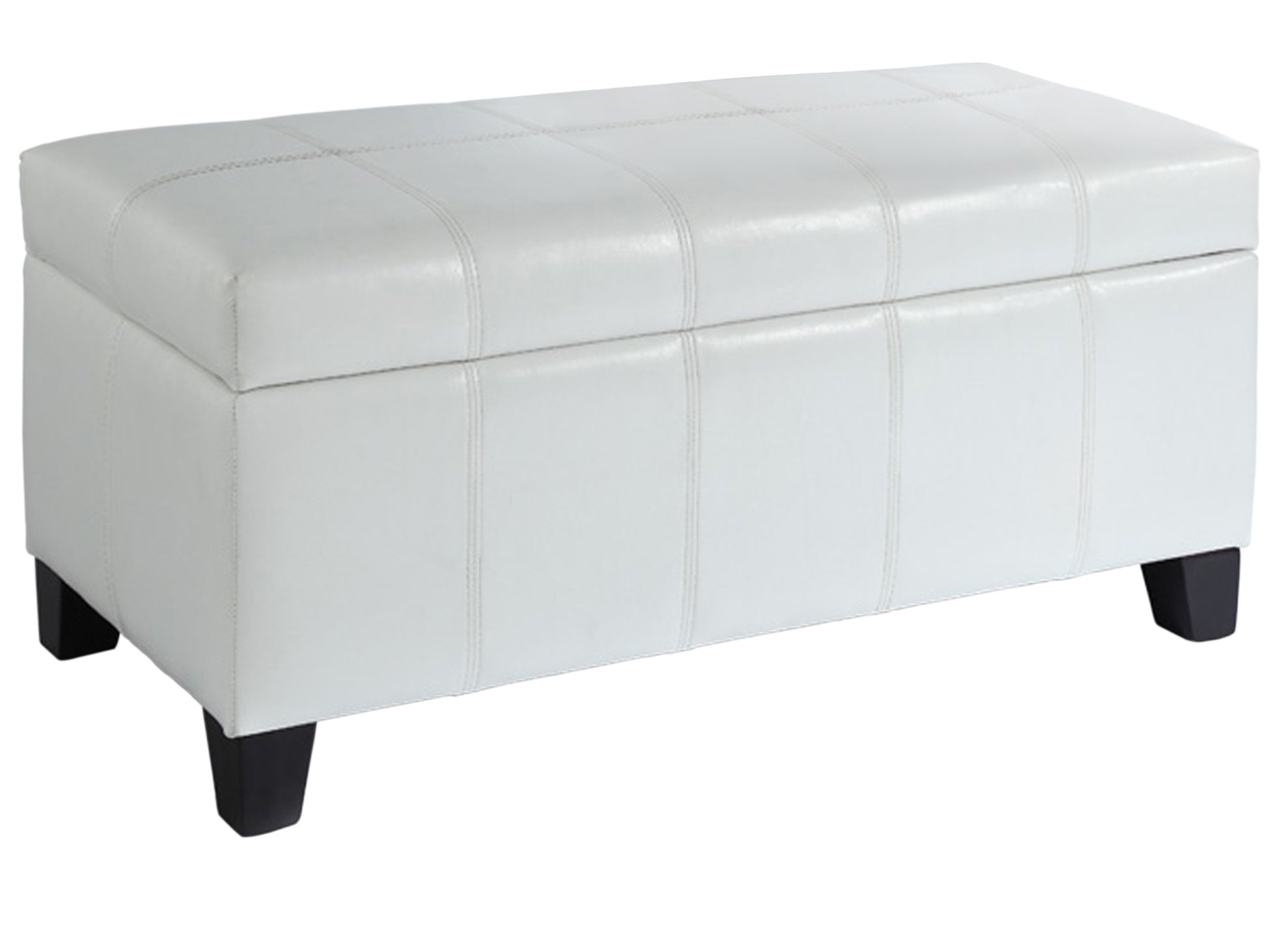 Bella Rectangular Storage Ottoman - White