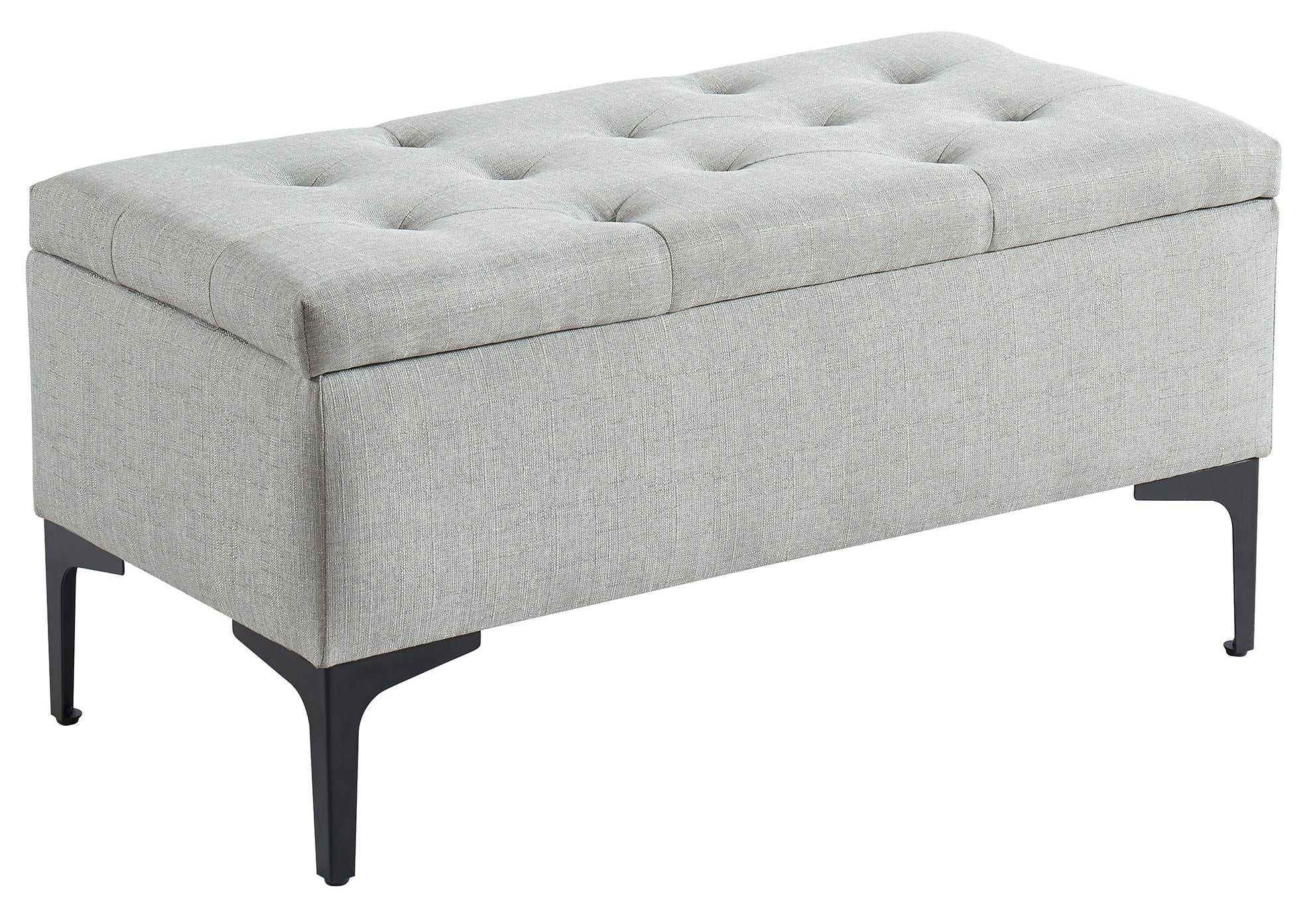 Tyler Rectangular Storage Ottoman - Light Grey