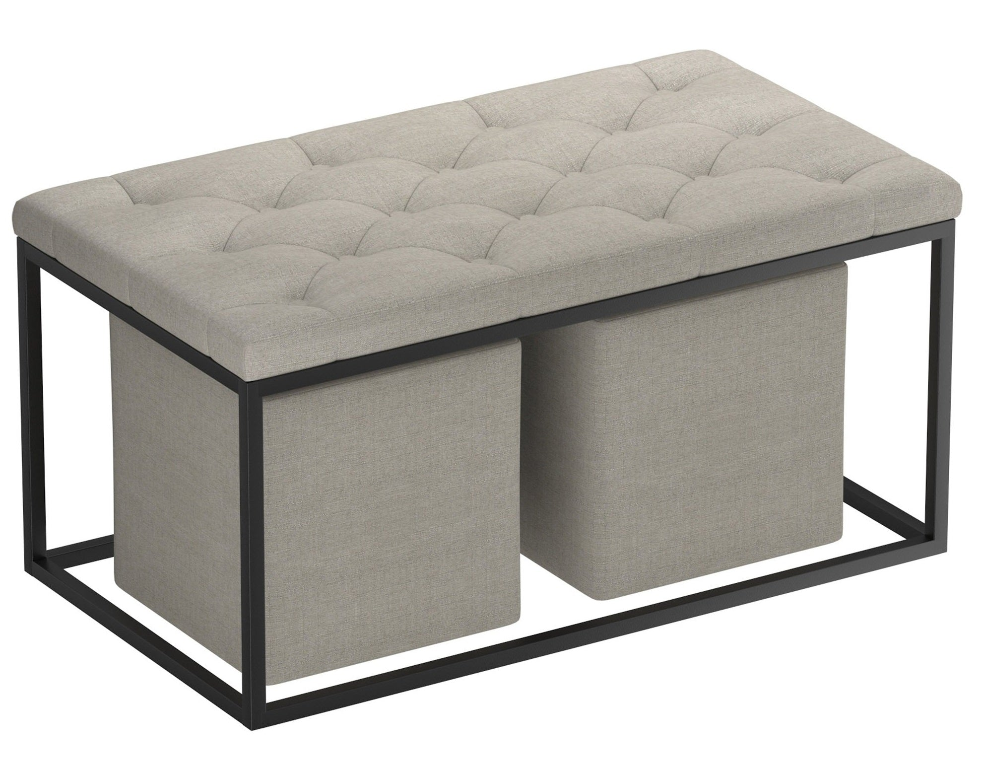 Knox 3 Piece Rectangular Cocktail Ottoman - Light Grey