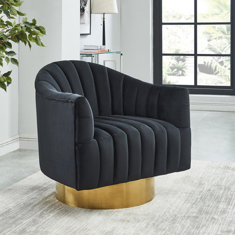 Cortina Swivel Accent Chair in Black/Gold