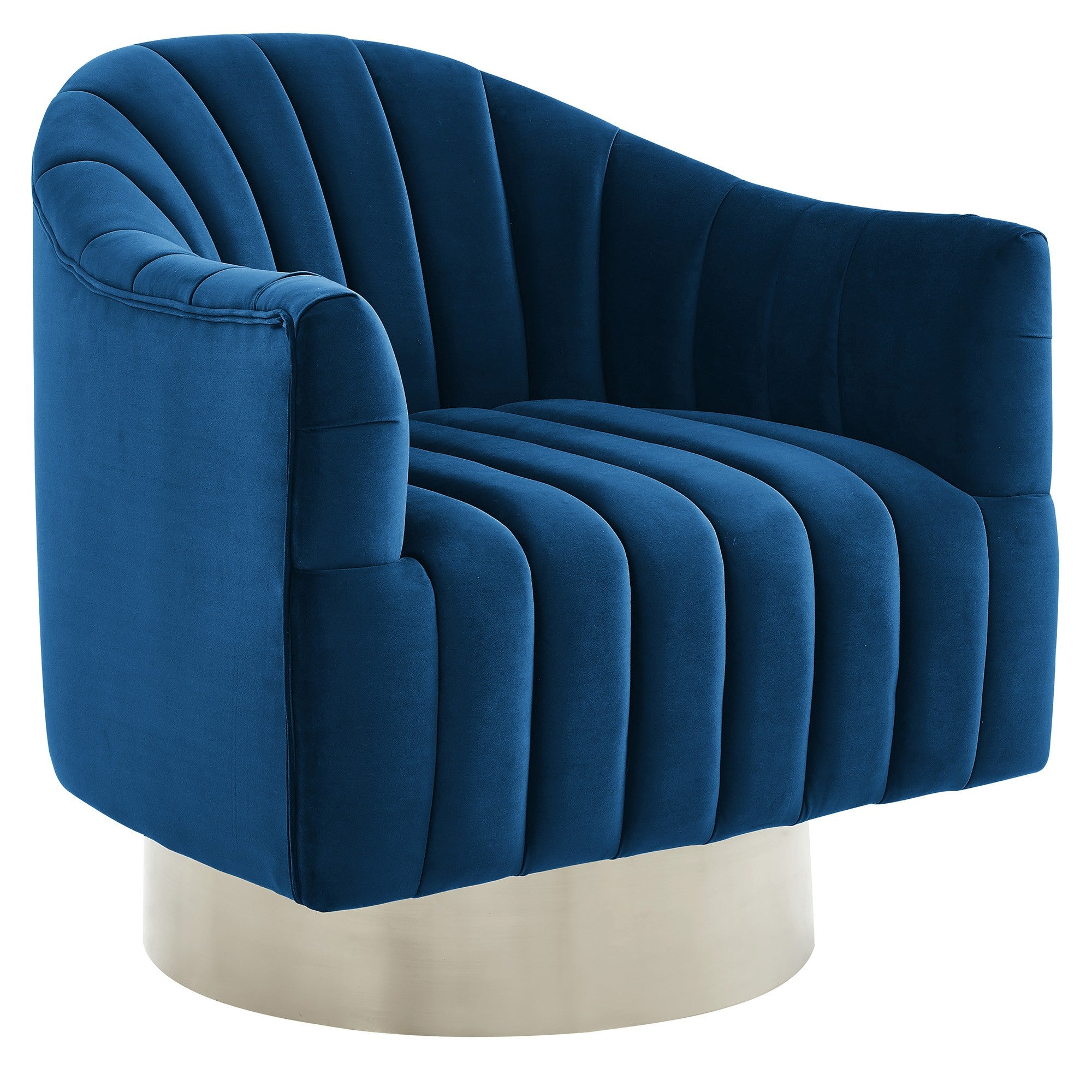 Cortina Swivel Accent Chair in Blue/Silver