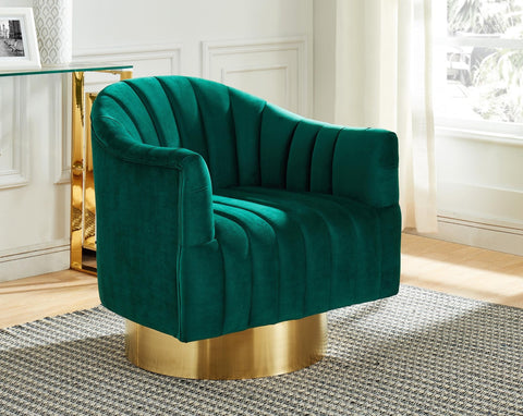 Cortina Swivel Accent Chair in Green/Gold