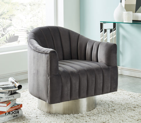Cortina Swivel Accent Chair in Grey/Silver