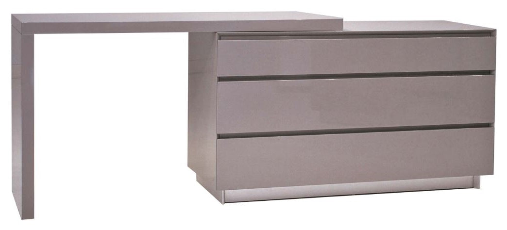 Savvy Glass Top Extension Desk - High Gloss Grey