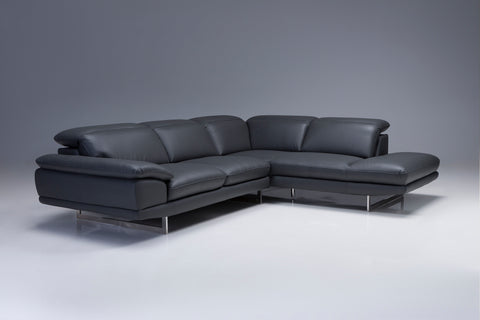 Icon Sectional Sofa - Grey Leatherette