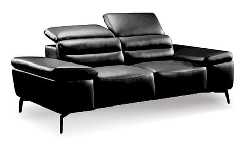 Camello Leather Loveseat - Black