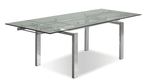 Cantro Clear Extension Dining Table - Polished SS Base