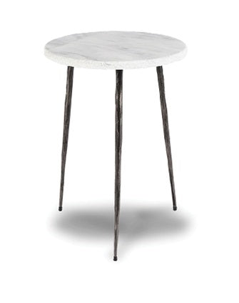 Kaii Tall End Marble Table - White