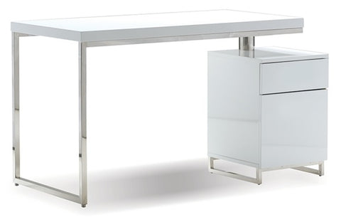 "Span Desk 47"" with File Cabinet - High Gloss White"