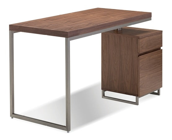 "Span Desk 47"" with File Cabinet - Natural Walnut"