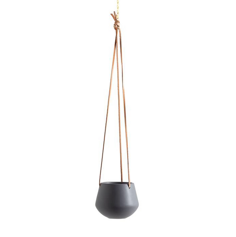 Ashbury Leather Hanging Black Drop Pot Planter - Small