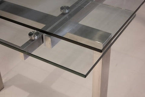 Cantro Clear Extension Dining Table - Brushed SS Base