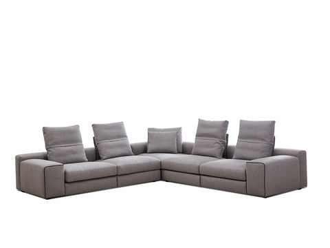 Flipout Smoke Fabric Sectional Sofa