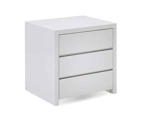 Blanche High White Gloss 3 Drawer Night Table