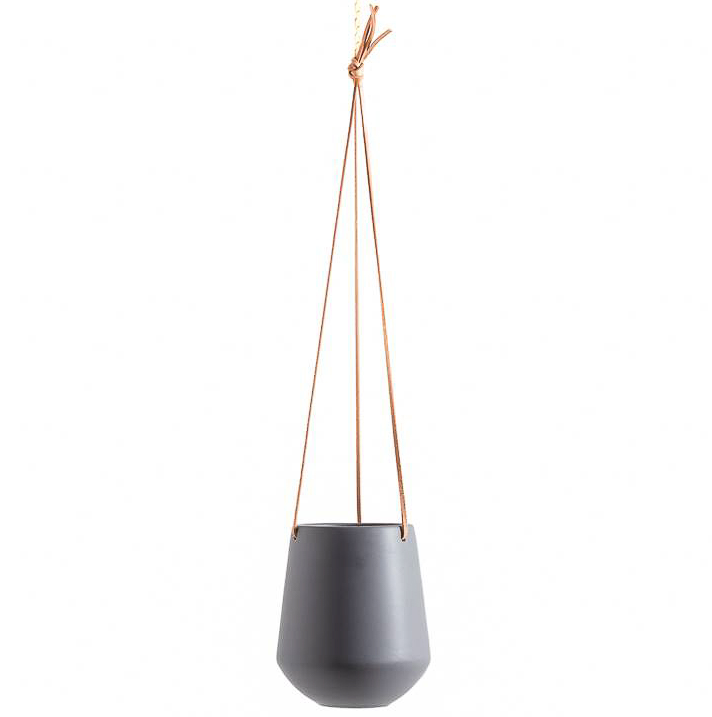 Ashbury Leather Hanging Black Drop Pot Planter - Large