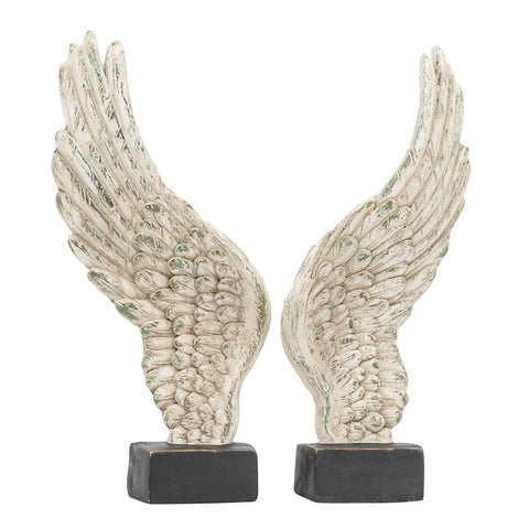 Guardian Antique Wings 2 Piece Decor Sculpture Set - White