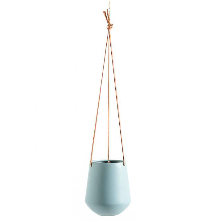 Ashbury Leather Hanging Teal Drop Pot Planter - Large