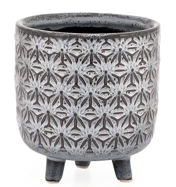 Star Black Glazed Ceramic Footed Drop Pot Planter - Small