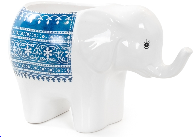Parading Elephant Ceramic Drop Pot Planter - Large