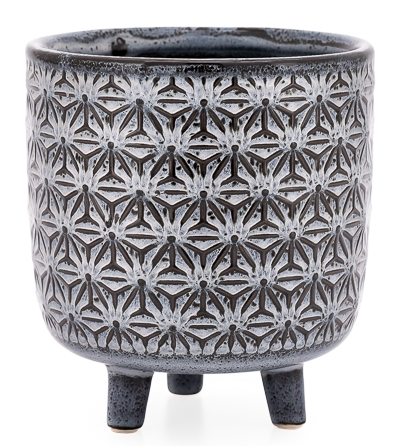 Star Black Glazed Ceramic Footed Drop Pot Planter - Large