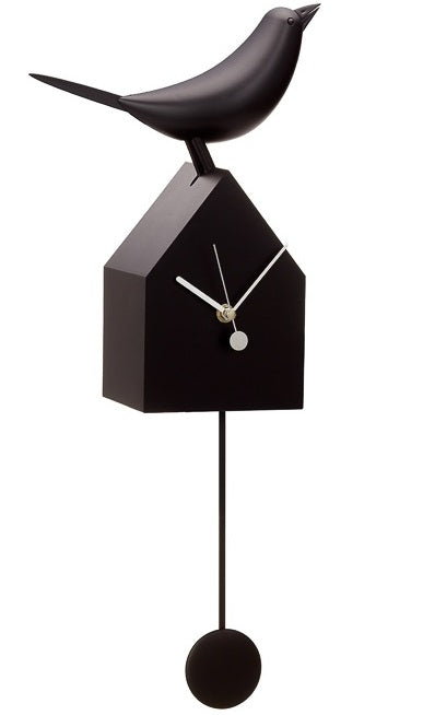 Motion Birdhouse Clock with Removable Pendulum - Black