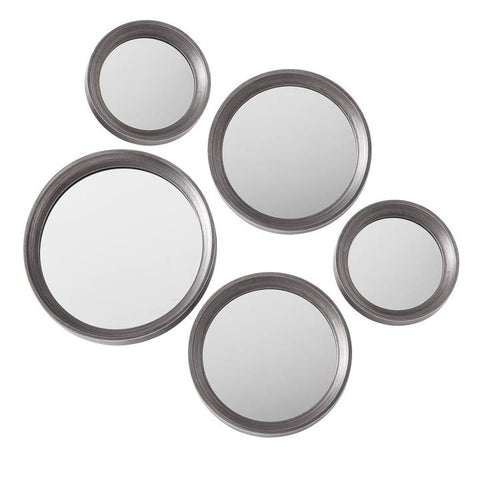 Portico Round Antique Pewter 5 Piece Mirror Set