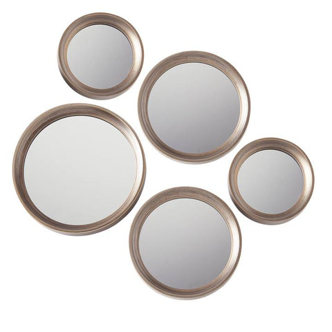 Portico Round Antique Gold 5 Piece Mirror Set