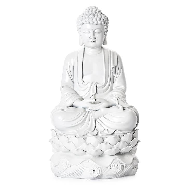 "Peaceful Buddha Resin Decor 16"" Decor Statue - White"