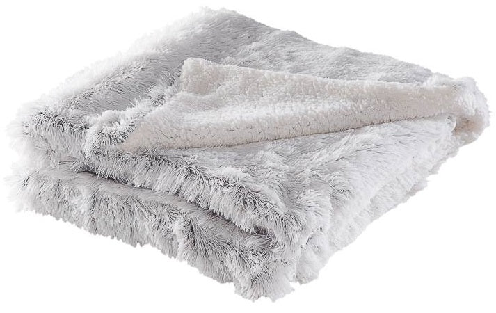 Ombre Fringe Sherpa Throw