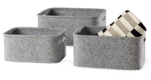 Urban Felt 3 Piece Small Storage Totes - Light Grey