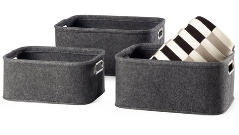 Urban Felt 3 Piece Small Storage Totes - Dark Grey