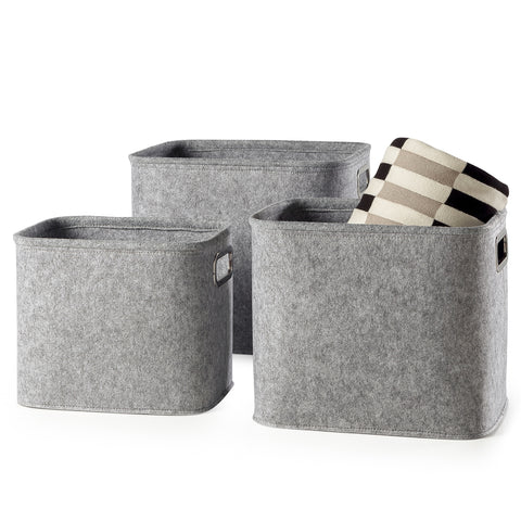 Urban Felt 3 Piece Large Storage Totes - Light Grey