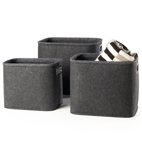 Urban Felt 3 Piece Large Storage Totes - Dark Grey