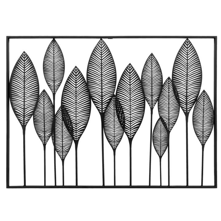 Framed Leaf Cutout Horizontal Metal Wall Decor