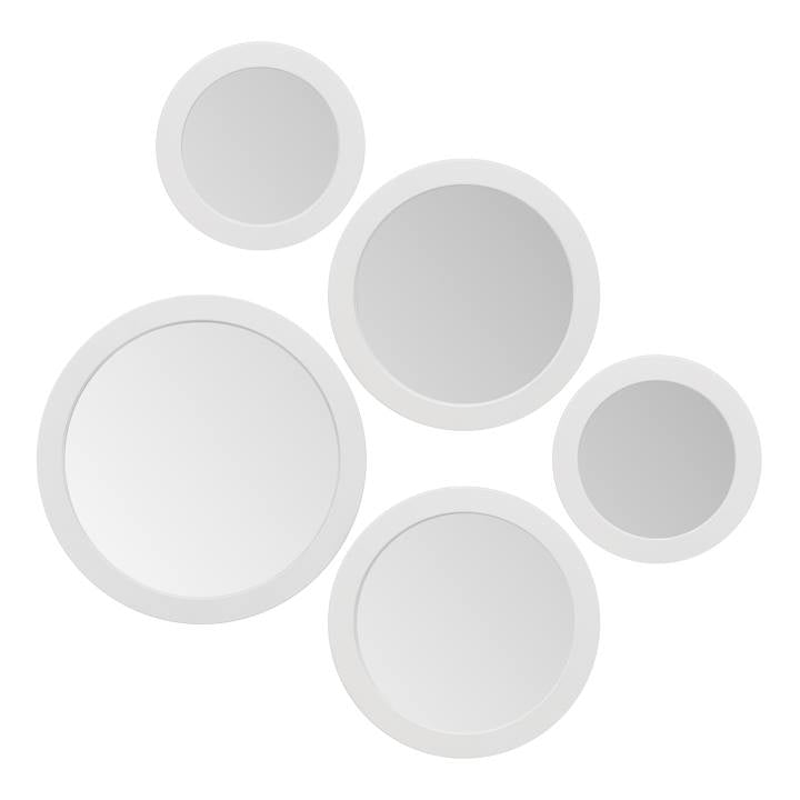 Radius Assorted 5 Piece Round Mirror Set - White