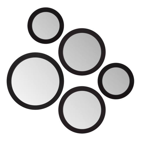 Radius Assorted 5 Piece Round Mirror Set - Black