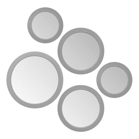 Radius Assorted 5 Piece Round Mirror Set - Silver