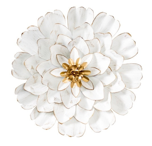 Allure 3D Gold Tipped White Flower Diameter Wall Decor - Small