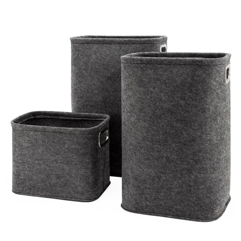 Urban Felt 3 Piece Storage Laundry Hamper Set - Dark Grey