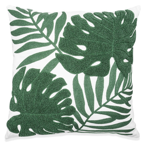 Tropical Leaf Chenille Embroidered Cushion