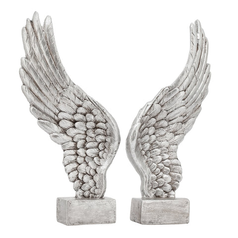 Guardian Antique Wings 2 Piece Decor Sculpture Set - Silver