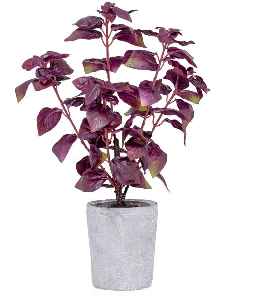 Provence Rustic Potted Faux Purple Basil Herb Plant - Large