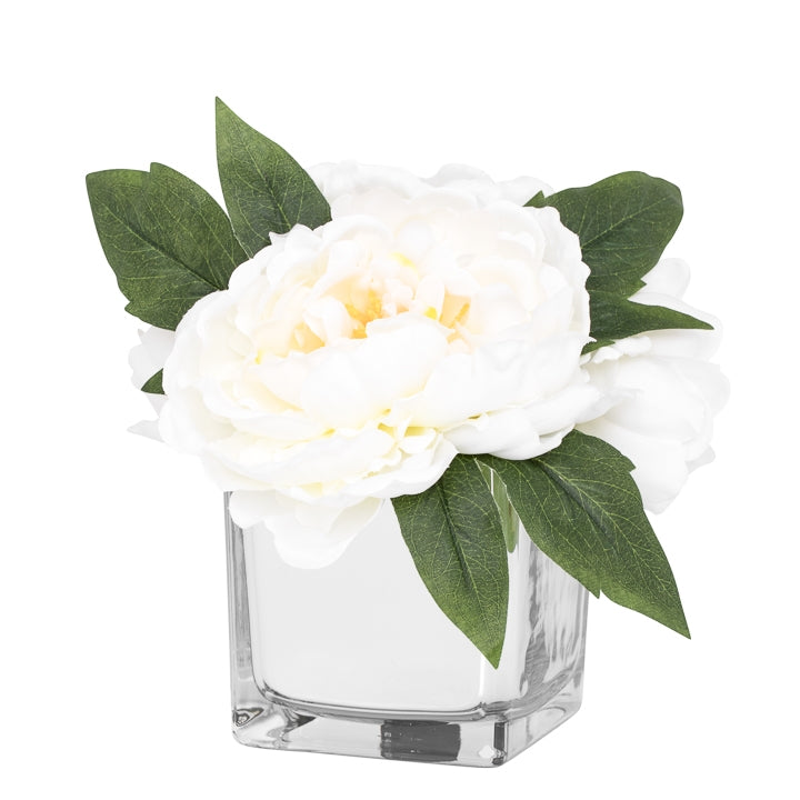 Peony Faux Arrangement in Glass Mirror Cube Vase - White