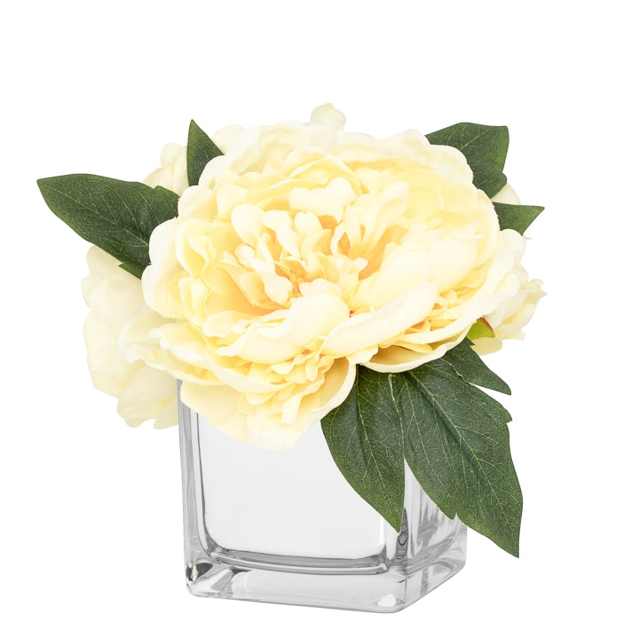 Peony Faux Arrangement in Glass Mirror Cube Vase - Yellow